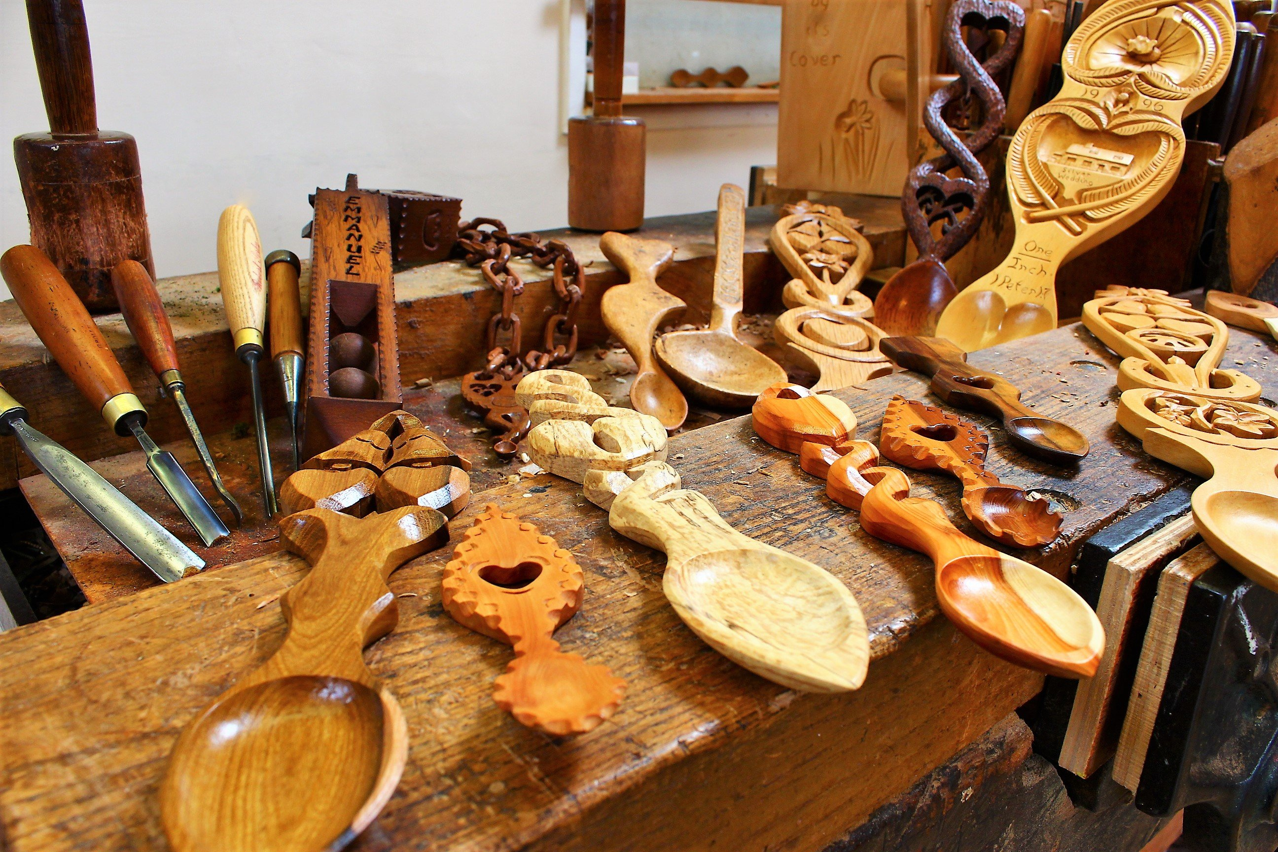 The workbench at The Lovespoon Workshop.